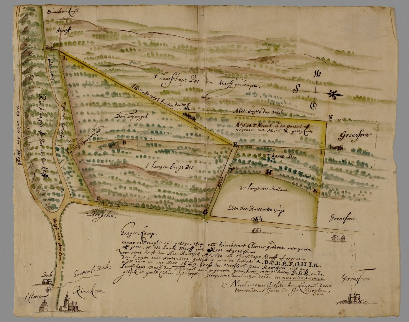 De Moft in 1650, kaart