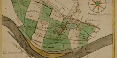 Oude kaart van de Rosandepolder in 1762