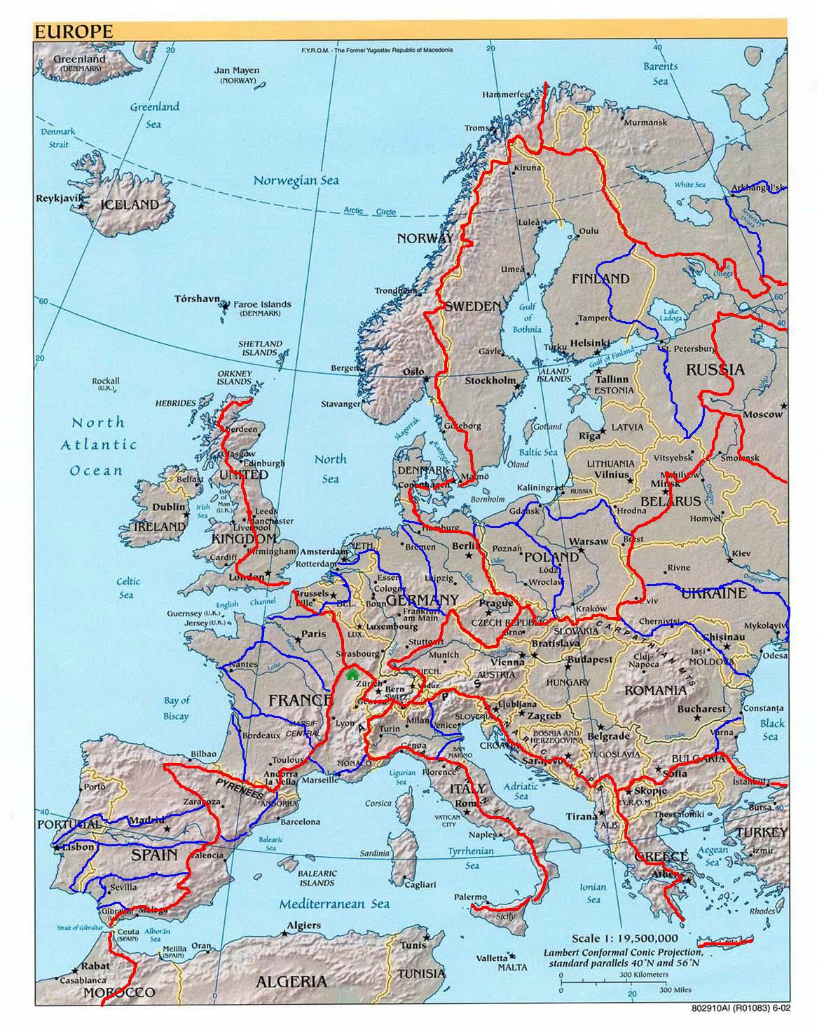 kaart 21 Waterscheidingen in Europa