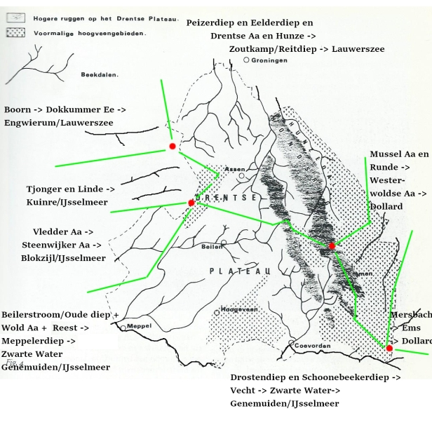 kaart drenthe waterscheidingen