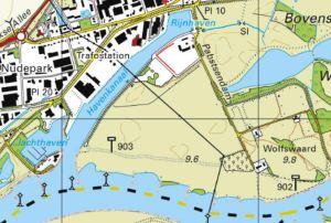 Topografische kaart van uiterwaard bij Wageningen.