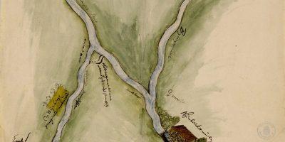 kaart uit 1662 van de Voorsterbeek en Beekbergsebeek