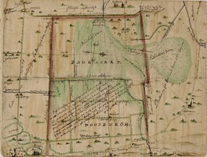 Kaart van Buurschap Doesburg (Ede) uit 1655. GA 5476-1665-79
