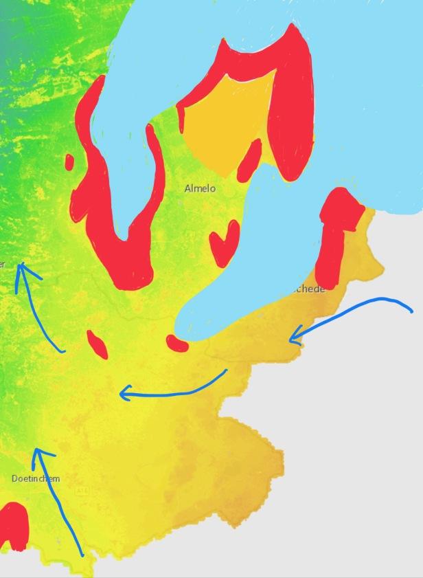kaart ijstijd Twente