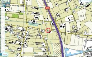De plek van het Doesburgerschut op kaart uit 2019.