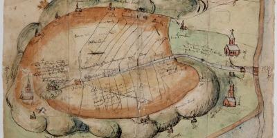 Kaart uit 1550 van het Binnenveld