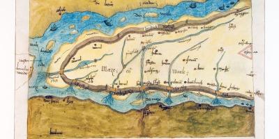 kaart uit 1544 van het Land van Maas en Waal